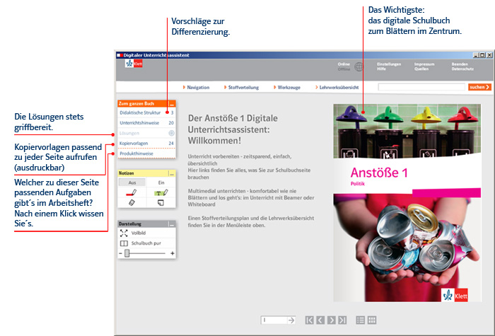 Screenshot des Digitalen Unterrichtsassistenten