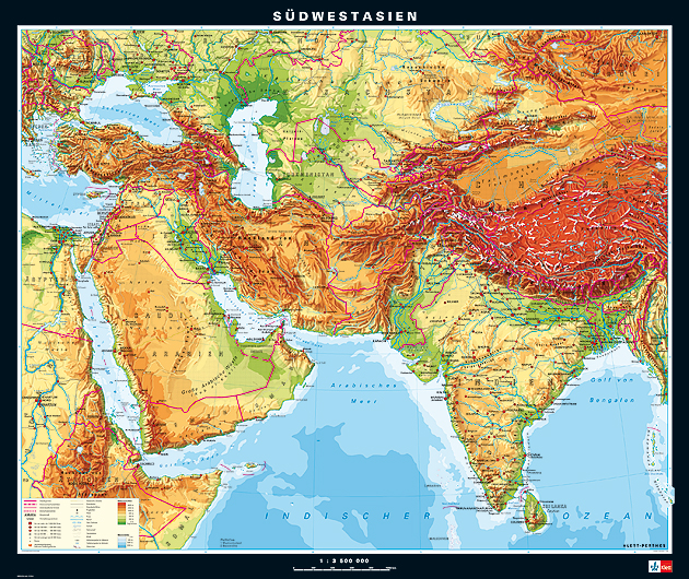 East Asia Meets The Southwest: Südwestasien, Physisch Wandkarte Auf